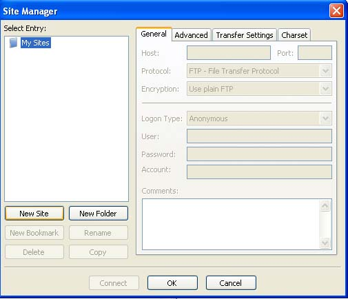 Site Manager Dialog Box
